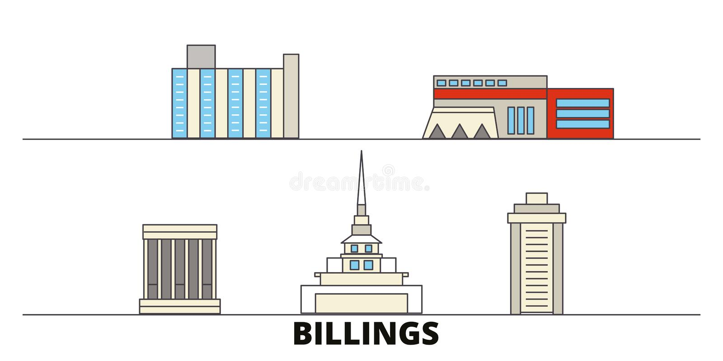 Estados Unidos, ejemplo plano del vector de las señales de las facturaciones Estados Unidos, facturaciones alinean la ciudad con  ilustración del vector