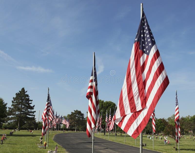 Estados Unidos embandeiram veteranos da honra no Memorial Day fotografia de stock