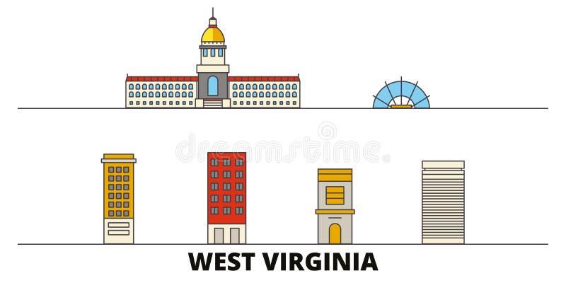 Estados Unidos, ilustração lisa do vetor dos marcos de Charleston West Virginia Estados Unidos, linha de Charleston West Virginia ilustração do vetor