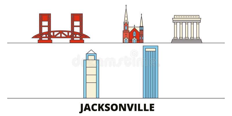 Estados Unidos, ilustração lisa do vetor dos marcos de Jacksonville Estados Unidos, linha cidade de Jacksonville com curso famoso ilustração royalty free