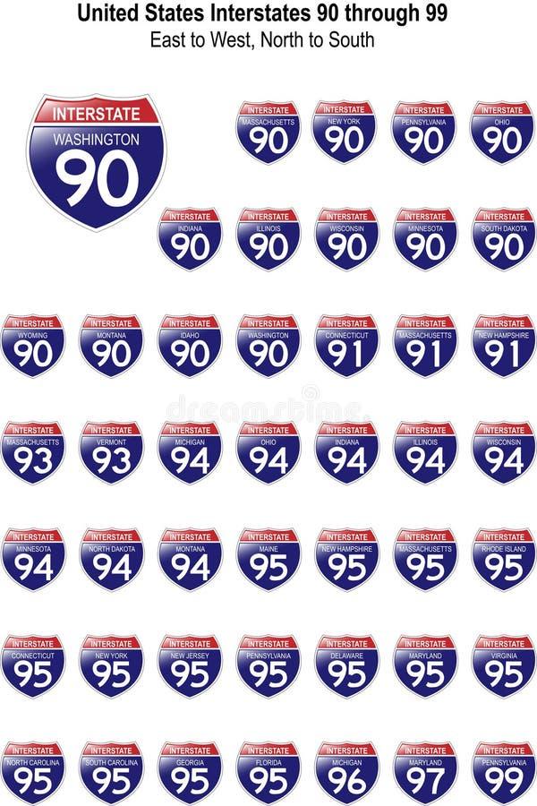 Estados Unidos Interstates 90 a 99 stock de ilustración