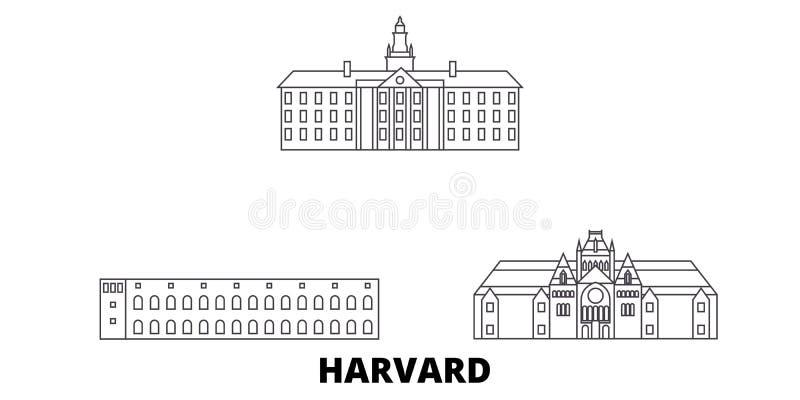 Estados Unidos, linha grupo de Harvard da skyline do curso Estados Unidos, ilustração do vetor da cidade do esboço de Harvard, sí ilustração do vetor