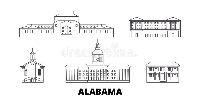 Estados Unidos, linha grupo de Montgomery da skyline do curso Estados Unidos, ilustração do vetor da cidade do esboço de Montgome ilustração stock