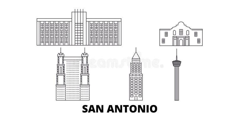 Estados Unidos, linha grupo de San Antonio da skyline do curso Estados Unidos, ilustração do vetor da cidade do esboço de San Ant ilustração stock