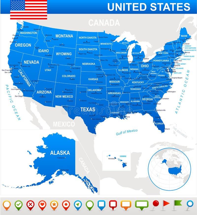 Estados Unidos (los E.E.U.U.) - mapa, bandera e iconos de la navegación - ejemplo libre illustration
