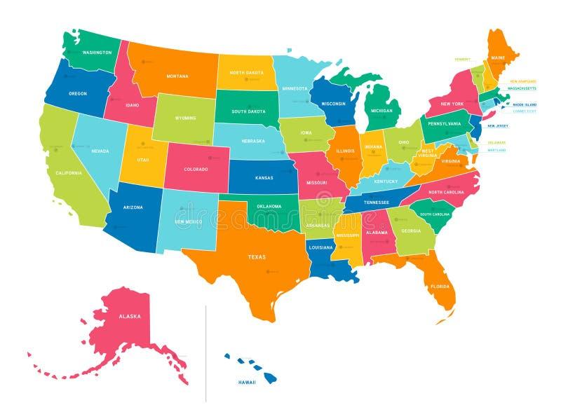 Mapa Politico Estados Unidos.Estados Unidos Mapa Politico De Los Colores Brillantes