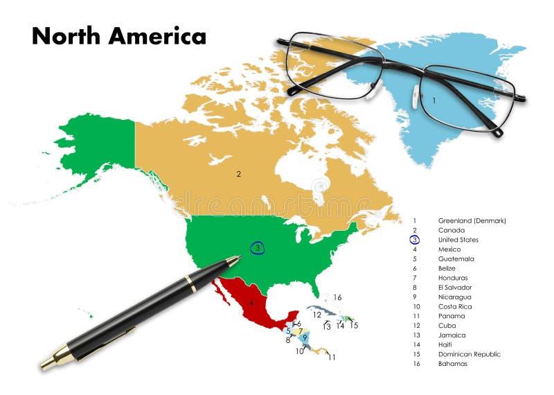 Estados Unidos no mapa de America do Norte fotografia de stock