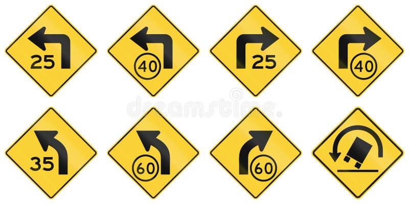 Estados Unidos que adverte sinais de estrada de MUTCD ilustração stock