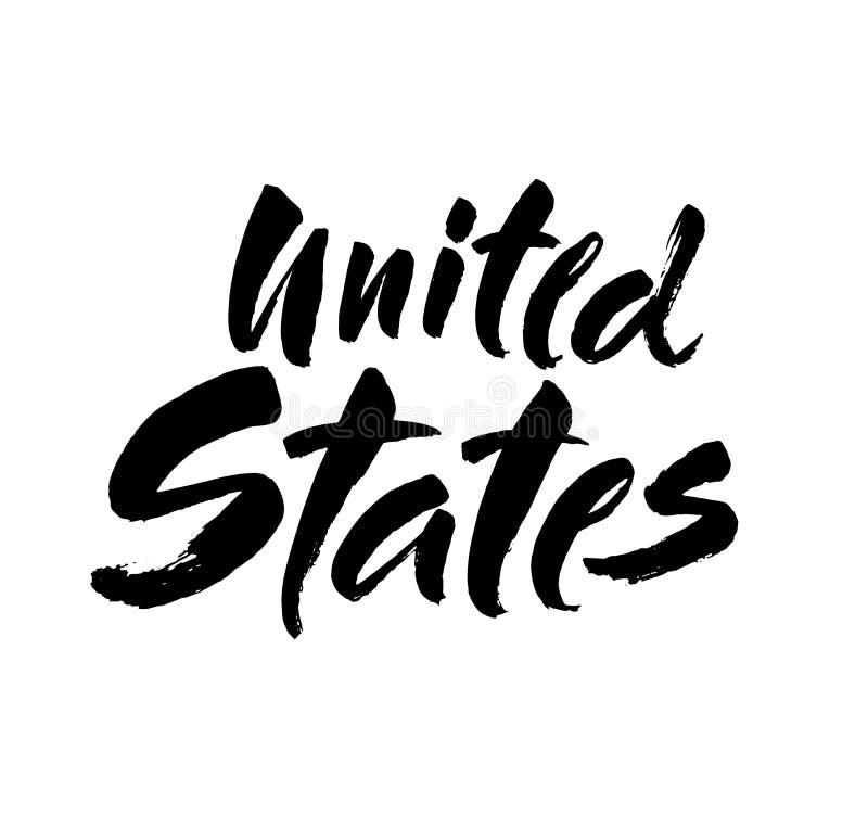 Estados Unidos Rotulação da mão da tinta Caligrafia moderna da escova Frase escrita à mão Elemento da tipografia do projeto gráfi ilustração do vetor