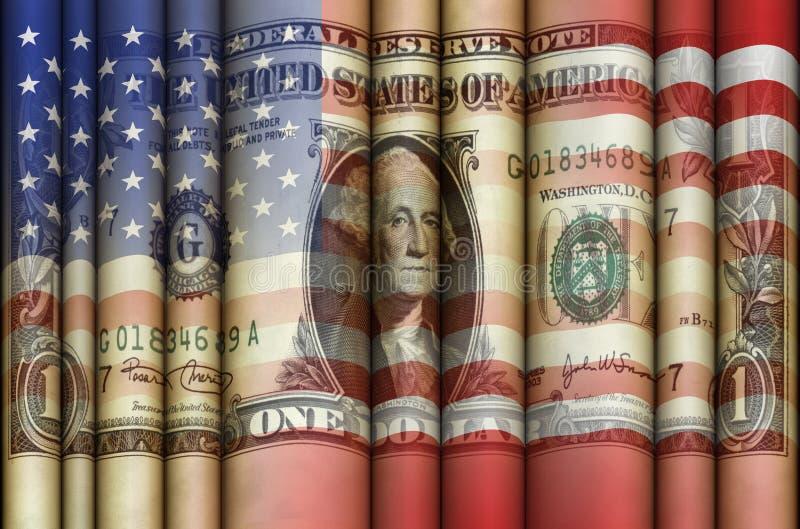Estados Unidos señalan el dólar por medio de una bandera libre illustration