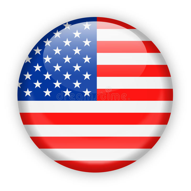 Estados Unidos señalan el icono redondo del vector por medio de una bandera stock de ilustración