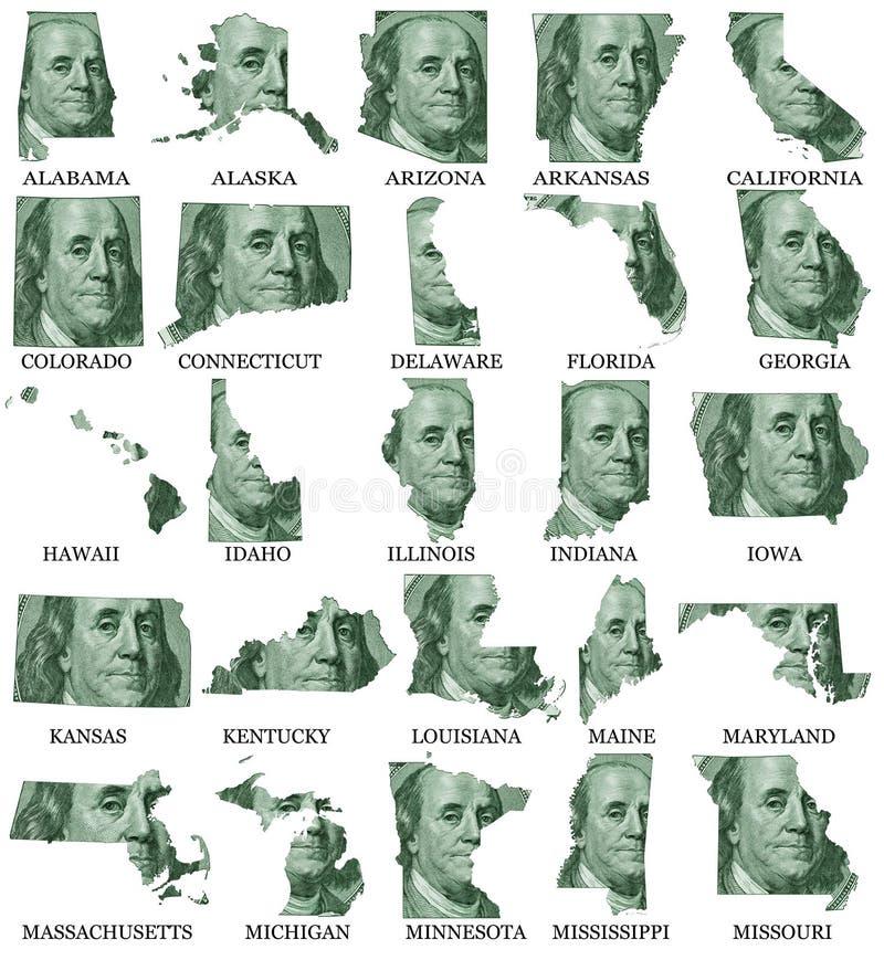 Estados Unidos señalan mapas por medio de una bandera de A a M ilustración del vector