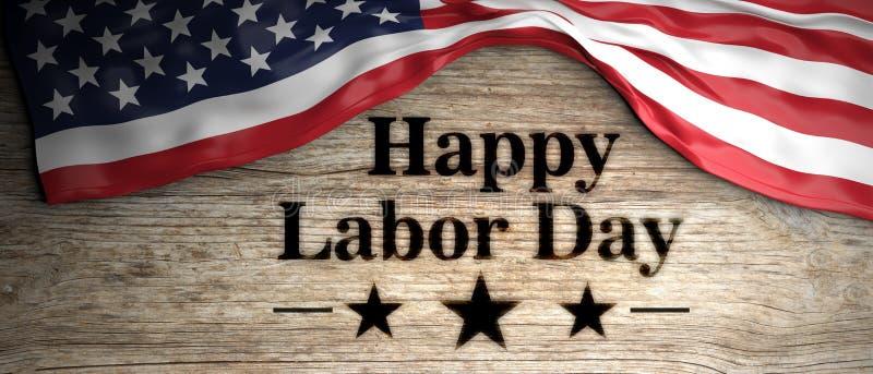 Estados Unidos señalan por medio de una bandera con el mensaje feliz del Día del Trabajo puesto en fondo de madera ilustración 3D ilustración del vector