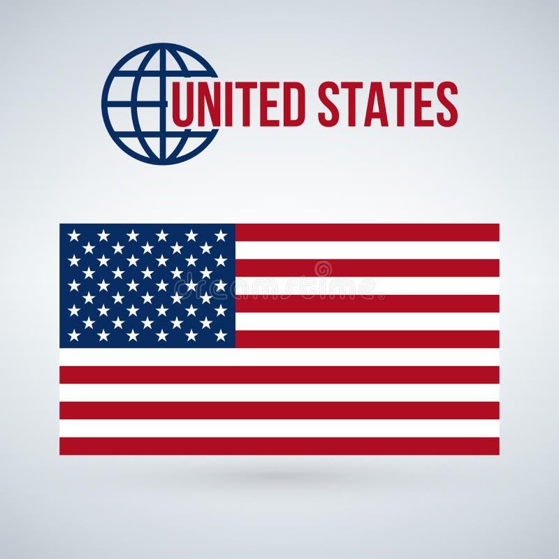 Estados Unidos señalan por medio de una bandera, ejemplo aislado en fondo moderno con la sombra ilustración del vector
