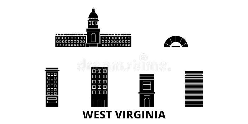 Estados Unidos, sistema plano del horizonte del viaje de Charleston West Virginia Estados Unidos, ciudad del negro de Charleston  ilustración del vector