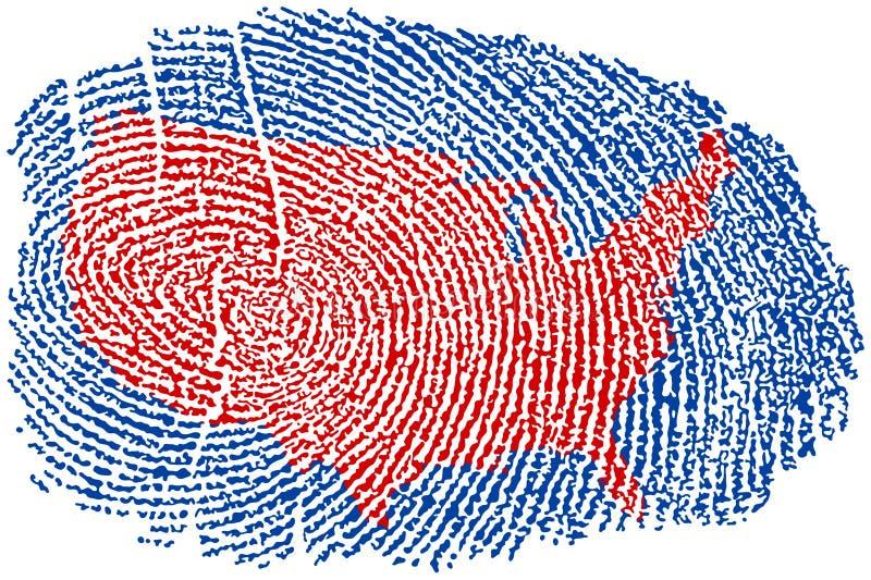 Estados Unidos toman las huellas dactilares stock de ilustración