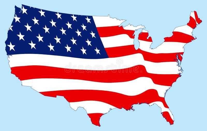 Estados Unidos traçam com bandeira ilustração stock