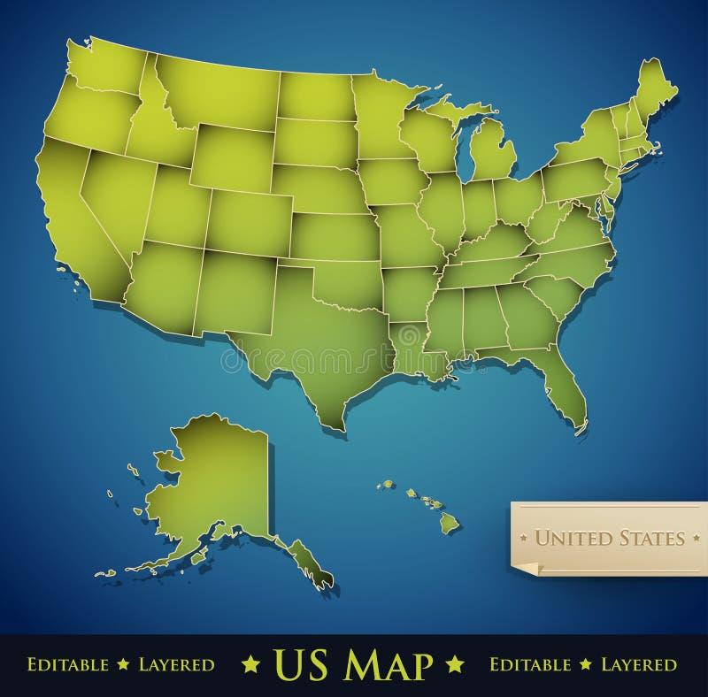 Estados Unidos traçam com todos os 50 estados separados ilustração stock