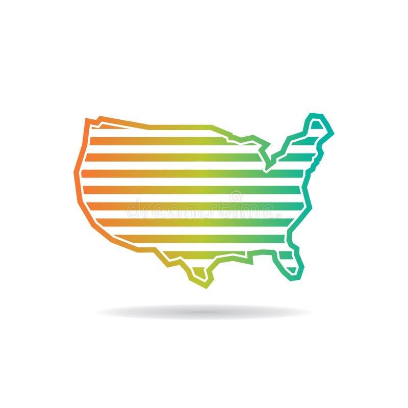 Estados Unidos trazan las rayas horizontales Logo Design ilustración del vector