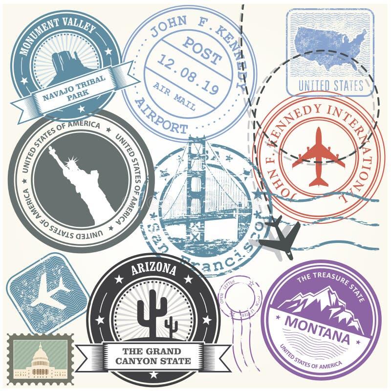 Estados Unidos viajam os selos ajustados - marcos da viagem dos EUA ilustração do vetor