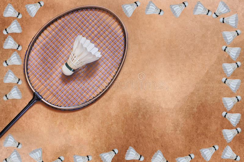 Estafa de bádminton y marco del volante imágenes de archivo libres de regalías