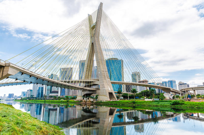 Estaiada Bridge in Sao Paulo, Brazil royalty free stock photo