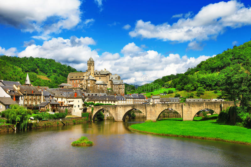 Estaing -one of the most picturesque villages. Beautiful medeival Estaing -one of the most picturesque villages of france stock photography
