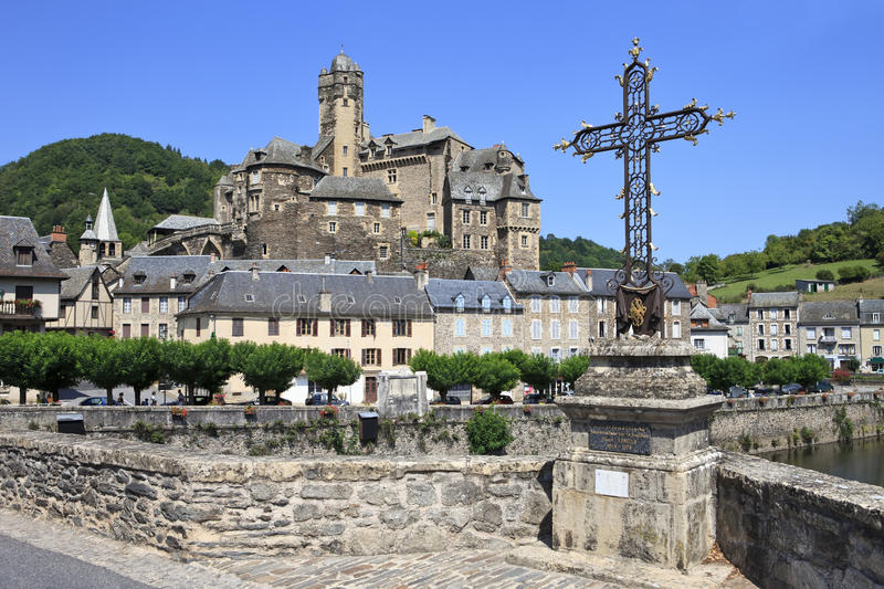 Estaing village in Southern France stock image