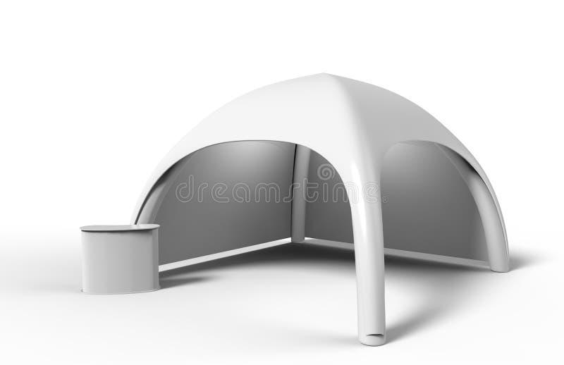 Estale acima do arco inflável da propaganda da aranha da abóbada a barraca vazia branca 3d rendem a ilustração ilustração stock