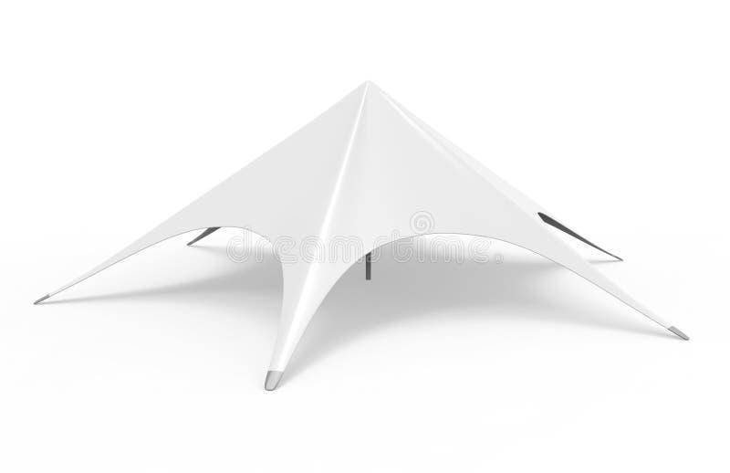 Estale acima a estrela da aranha da abóbada que anuncia a barraca vazia branca do evento 3d rendem a ilustração ilustração stock