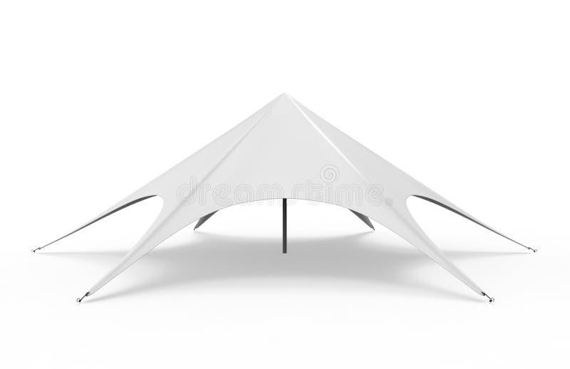 Estale acima a estrela da aranha da abóbada que anuncia a barraca vazia branca do evento 3d rendem a ilustração ilustração royalty free