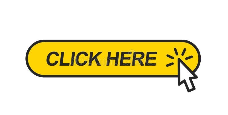 Estale aqui Botão da Web com cursor do rato ilustração stock