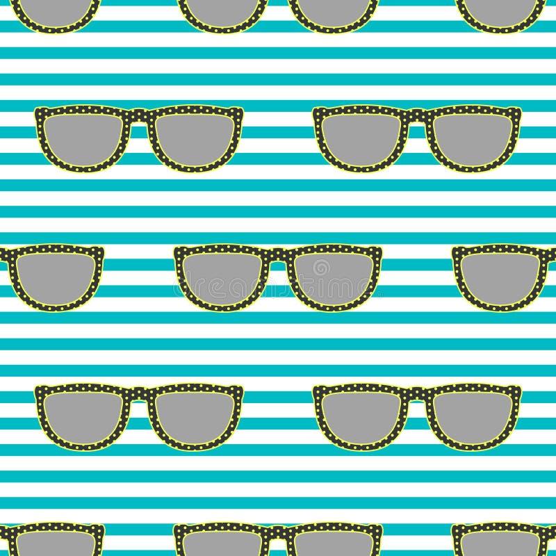 Estale o teste padrão sem emenda retro dos óculos de sol em amarelo e azul de néon ilustração do vetor