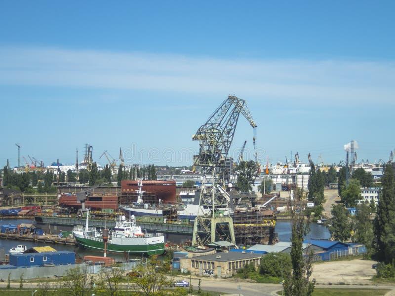 Estaleiro de Gdansk, panorama fotografia de stock royalty free