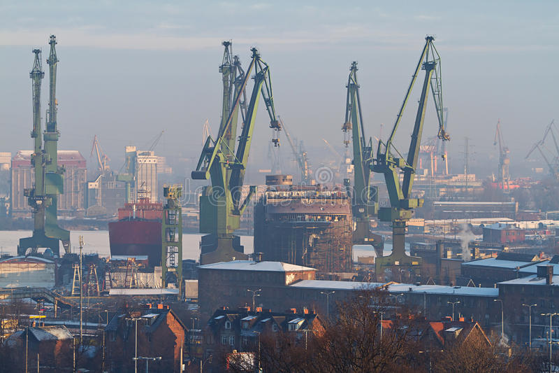 Estaleiro em Gdansk foto de stock royalty free