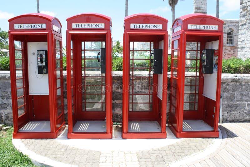 Estaleiro naval Bermuda das cabines de telefone fotos de stock royalty free