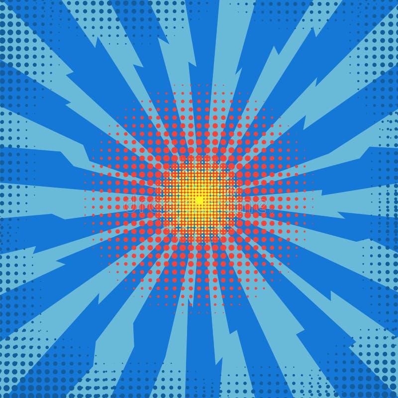 Estalle el flash, explosión de la historieta, efecto estallado espacio, bomba cómica, explosión de la estrella en Backgground azu stock de ilustración
