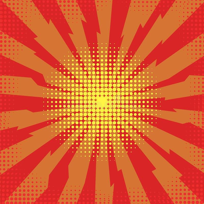 Estalle el flash, explosión de la historieta, efecto estallado espacio, bomba cómica, explosión de la estrella stock de ilustración