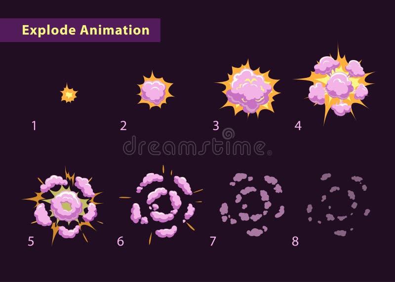 Estalle la animación del efecto con humo stock de ilustración