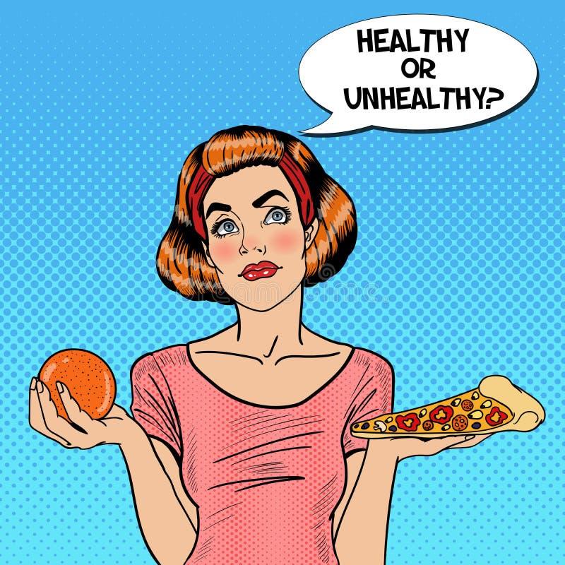 Estallido apto Art Woman Choosing Between Healthy de los jóvenes y comida malsana - naranja y pizza ilustración del vector