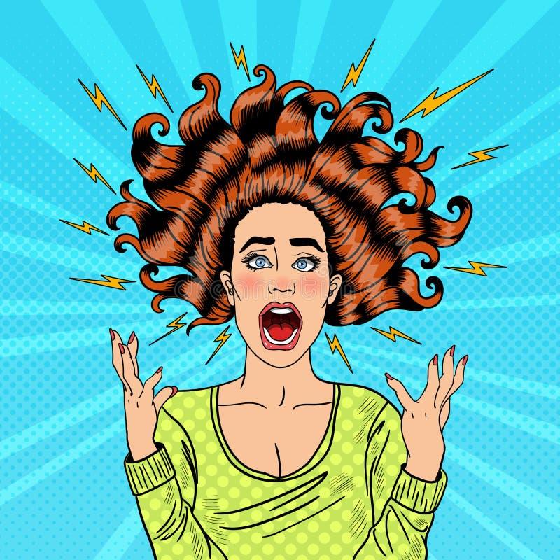 Estallido Art Aggressive Furious Screaming Woman con el pelo y el flash del vuelo ilustración del vector