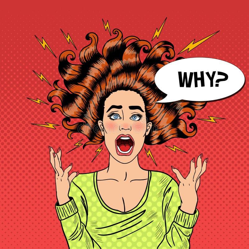 Estallido Art Aggressive Furious Screaming Woman con el pelo y el flash del vuelo stock de ilustración