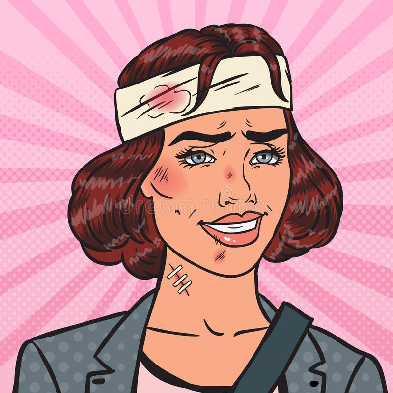 Estallido Art Beaten Business Woman Smiling Oficina herida ilustración del vector