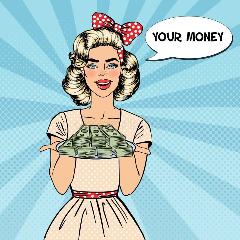 Estallido Art Beautiful Woman Holding una placa con el dinero ilustración del vector