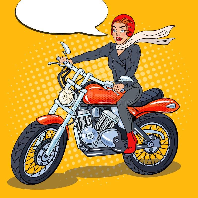 Estallido Art Biker Woman en el casco que monta una motocicleta stock de ilustración