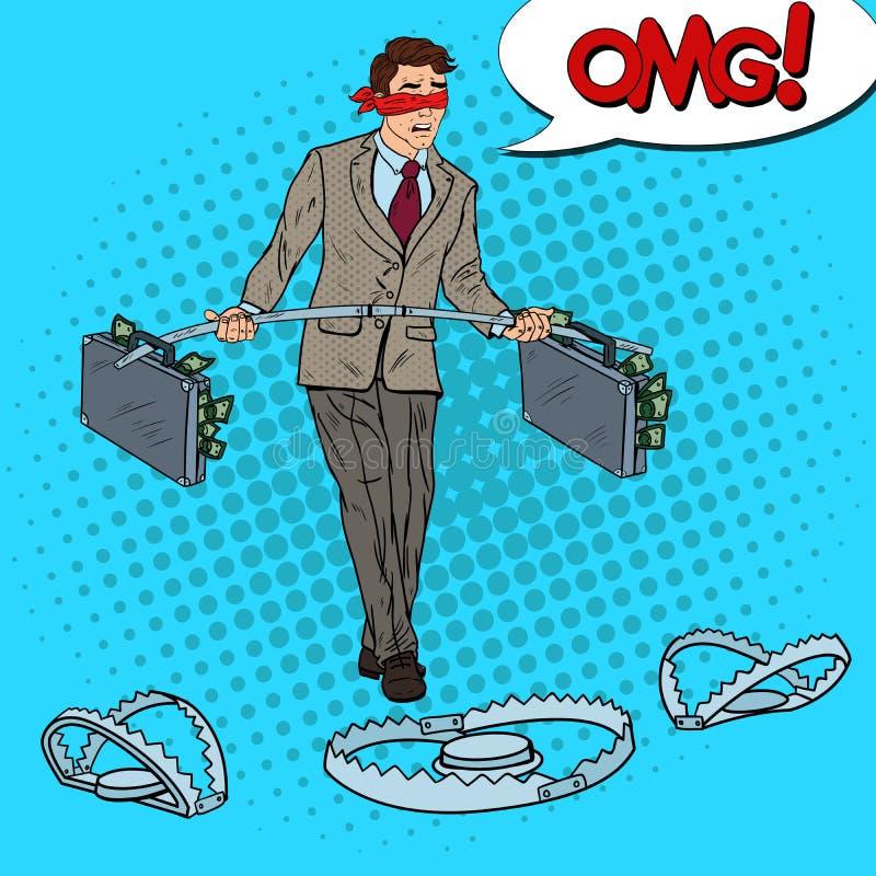 Estallido Art Blindfolded Business Man Walking con el dinero sobre las trampas Riesgo de inversión stock de ilustración