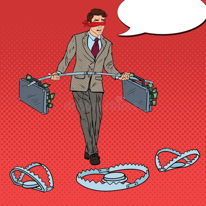 Estallido Art Blindfolded Business Man Walking con el dinero sobre las trampas Riesgo de inversión ilustración del vector