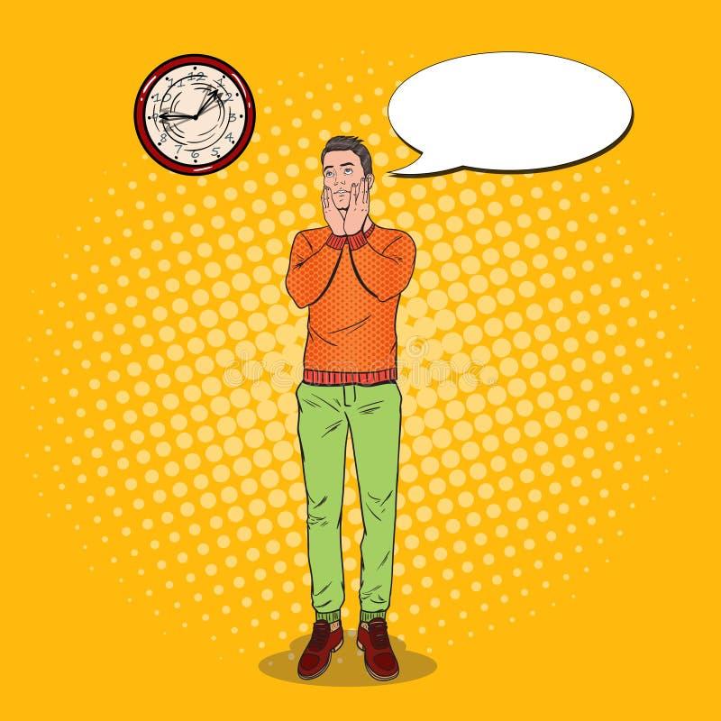 Estallido Art Boring Young Man Looking en el reloj Expresión facial Individuo cansado ilustración del vector
