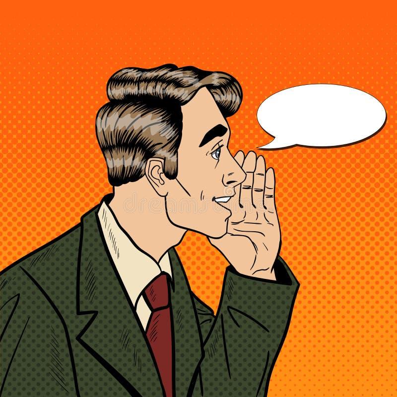 Estallido Art Business Man Whispering Secrets Concepto de la privacidad y del secreto ilustración del vector