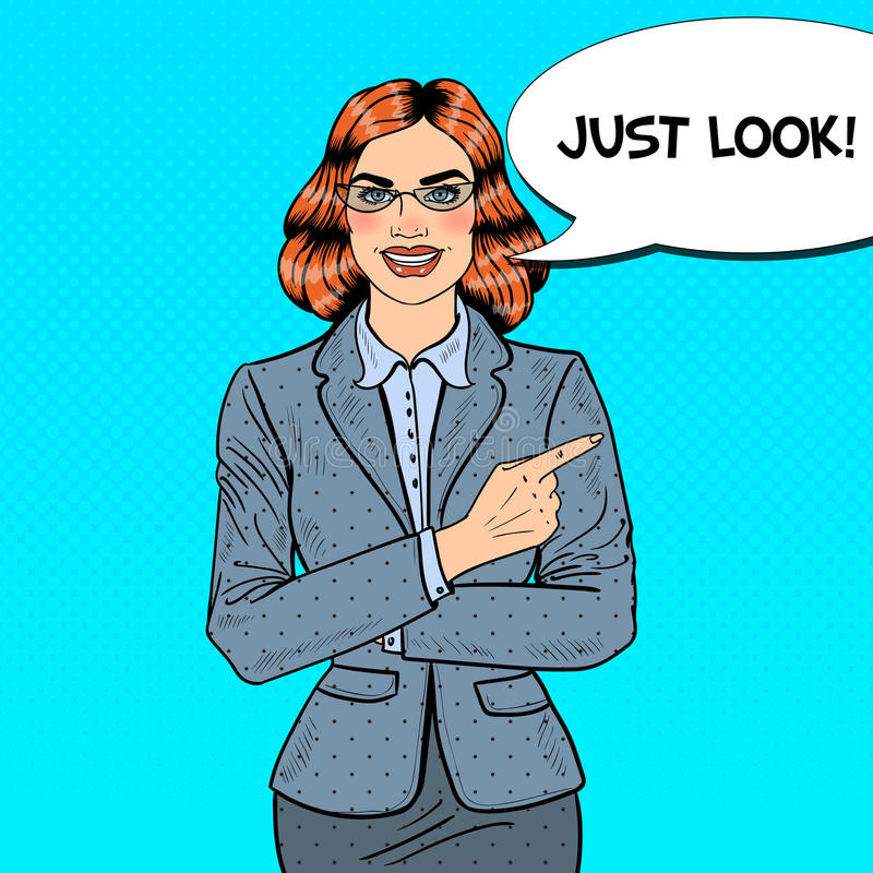 Estallido Art Business Woman Pointing Finger en espacio de la copia libre illustration